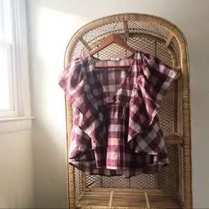 Melrose And Market Plaid Ruffled Top✨